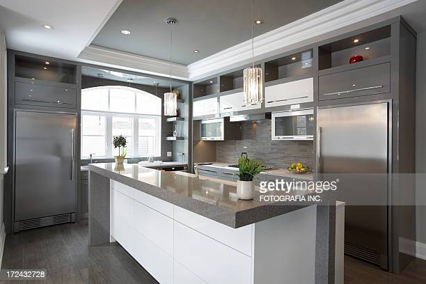 luxury kitchen - gray color stock photos and pictures