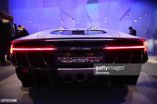 A luxury Lamborghini Centenario Roadster automobile sits on display during the Volkswagen Group media night ahead of the Paris Motor Show in Paris...
