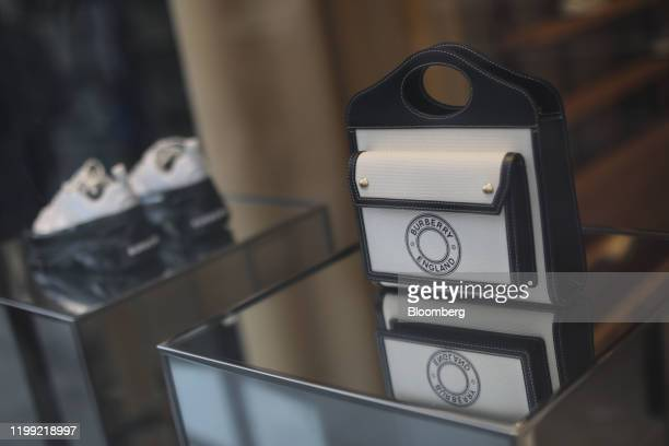 Luxury leather handbag sits in a window display at a Burberry Group Plc luxury fashion store in London, U.K., on Friday, Feb. 7, 2020. Burberry...