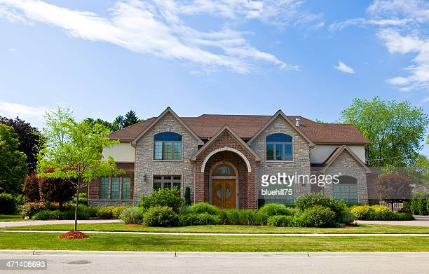 luxury living - brick house stock pictures, royalty-free photos & images