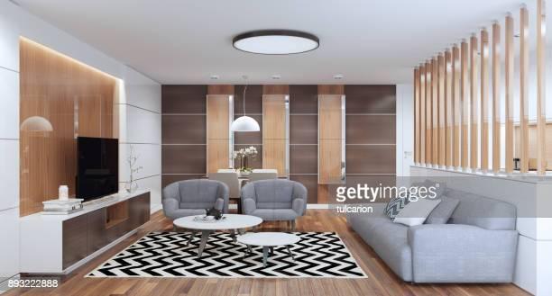 Interior de la sala de estar de lujo con muebles modernos.