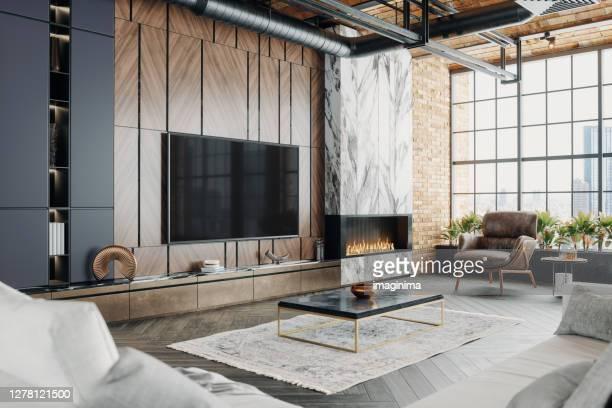 lyx loft vardagsrum interiör - lyx bildbanksfoton och bilder