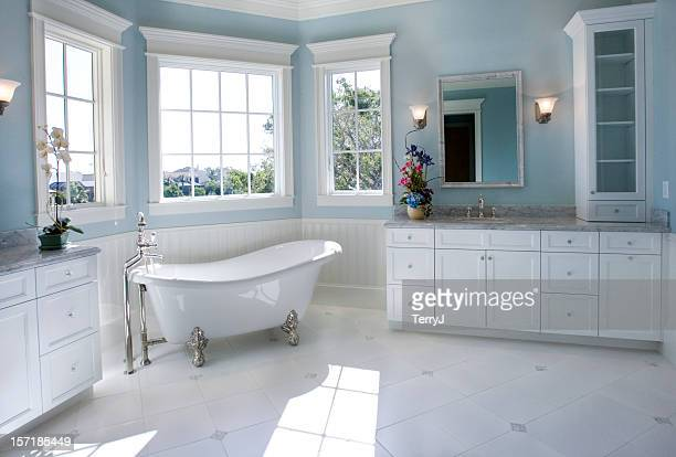 luxury master bathroom with free standing bath tub - bathroom stock photos and pictures