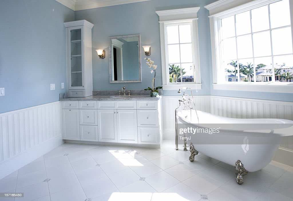 Luxury Master Bathroom With Free Standing Bath Tub Stock Photo ...