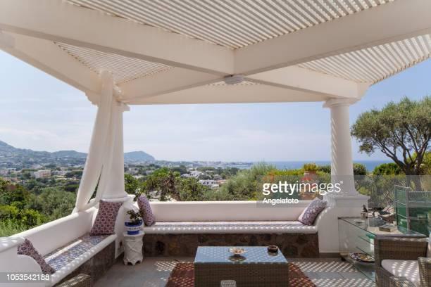 luxury mediterranean patio - gazebo stock pictures, royalty-free photos & images