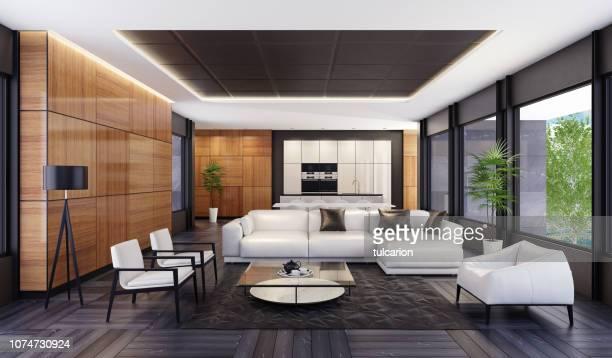 lujo minimalista espacio abierto de salón con cocina y comedor - ancho fotografías e imágenes de stock