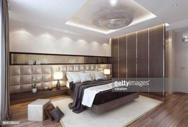luxury modern interior bedroom with large bed. - camera da letto foto e immagini stock