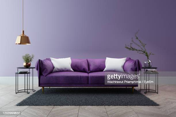 luxury modern interior of living room ,ultraviolet home decor concept - lilac fashin stock pictures, royalty-free photos & images