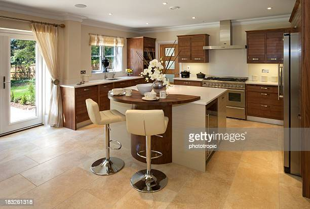 luxury modern kitchen in wood and white - sandstone stock pictures, royalty-free photos & images
