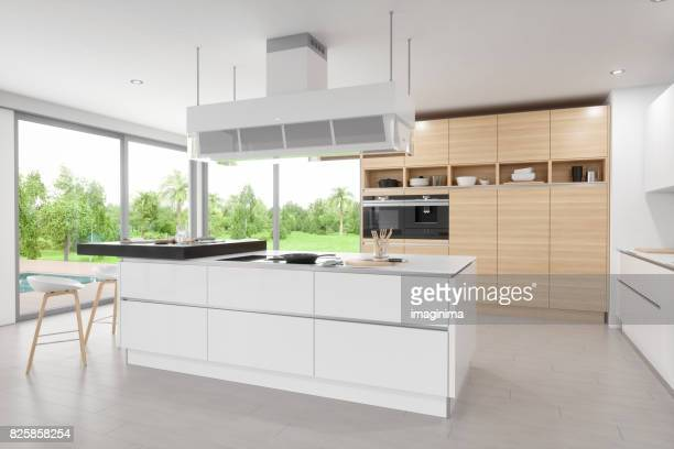 luxury modern kitchen interior - domestic kitchen stock pictures, royalty-free photos & images