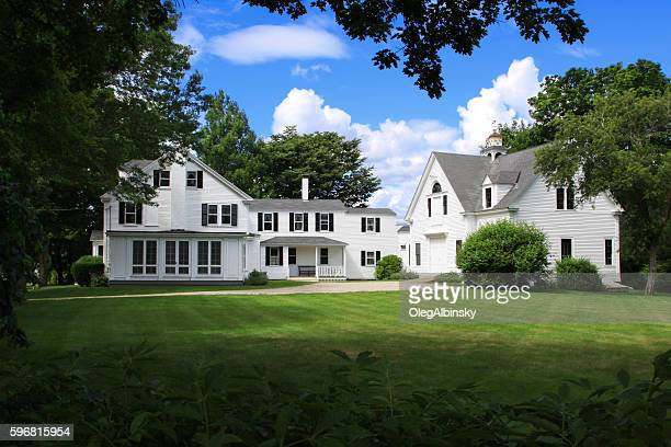 luxury new england house among trees, kennebunkport, maine, usa. - colonial style stock pictures, royalty-free photos & images
