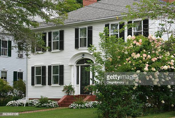 Luxury New England House with White Clapboard, Sandwich, Massachusetts, USA.