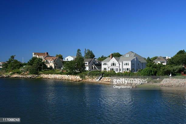 luxury new england waterfront houses, hyannis harbor. morning blue sky. - hyannis port stock pictures, royalty-free photos & images