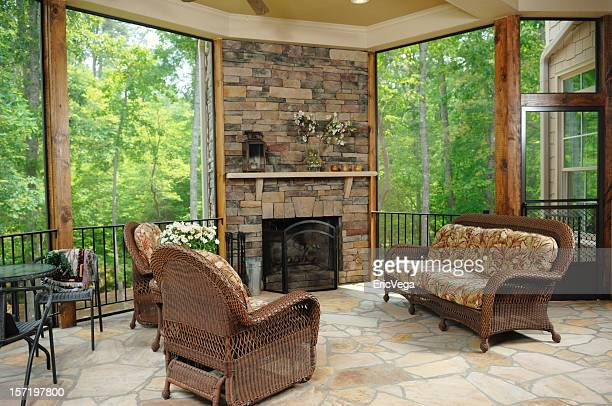 A luxury patio with large windows