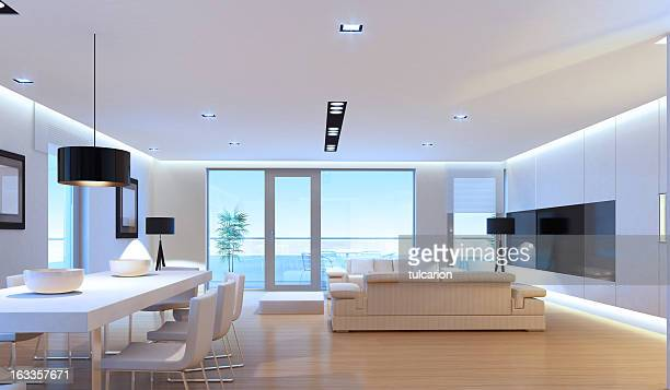 luxury penthouse interior - penthouse stock pictures, royalty-free photos & images