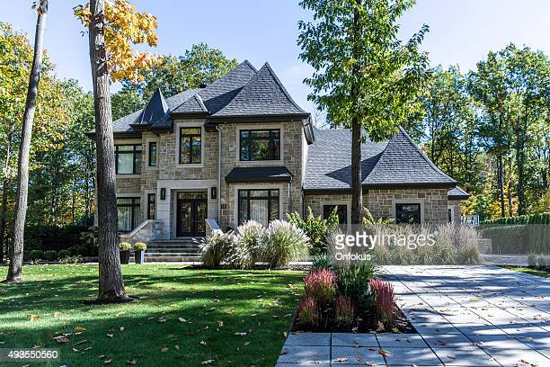 luxury property on sunny day of autumn - luxury stock pictures, royalty-free photos & images