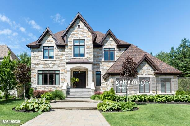 luxury property on sunny day of summer - front view stock pictures, royalty-free photos & images