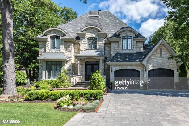 luxury property on sunny day of summer - mansion stock pictures, royalty-free photos & images