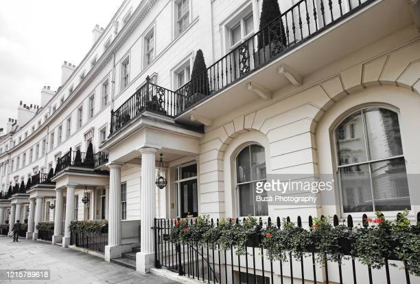 luxury residential properties along grosvenor crescent in london's belgravia district, one of the uk's most expensive residential streets. london, england - central london stock pictures, royalty-free photos & images