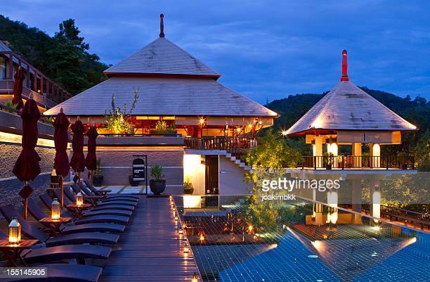 Luxury resort at dusk