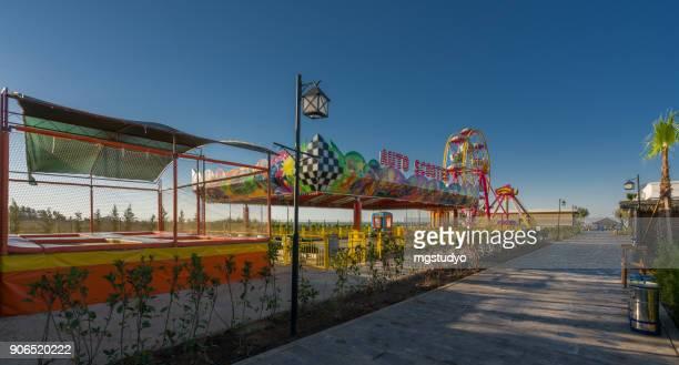 Luxury resort hotel road with amusement park