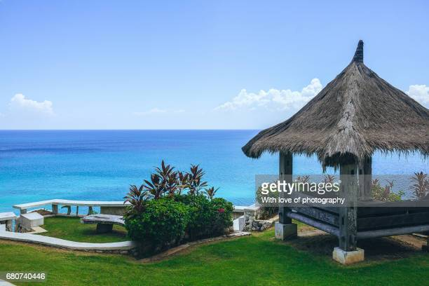 Luxury resort in tropical island, ocean view from paradise island, Indonesia travel destination, vacation background