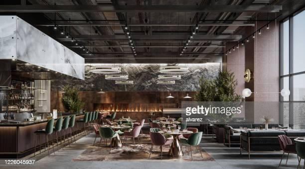 luxe restaurant interieur met elegante decoratie - klassieke stijl stockfoto's en -beelden