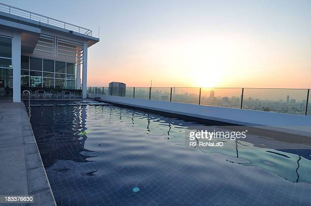 Luxury Rooftop Swimming pool at sunset