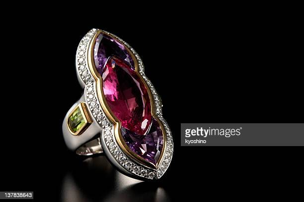 Luxury ruby diamond ring on black background with copy space