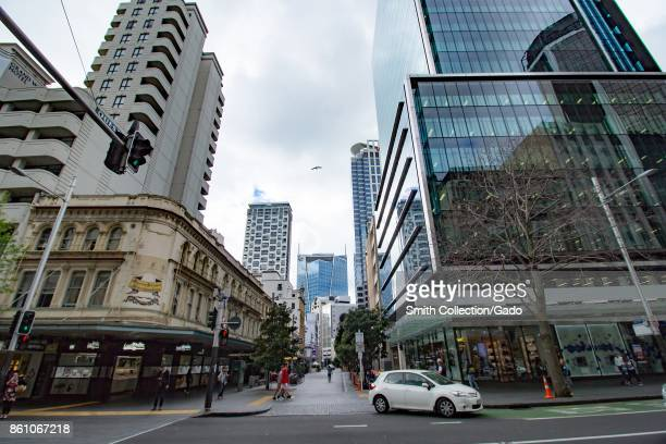 Luxury shopping along Queen Street including the flagship store of handbag retailer Coach in downtown Auckland New Zealand October 10 2017
