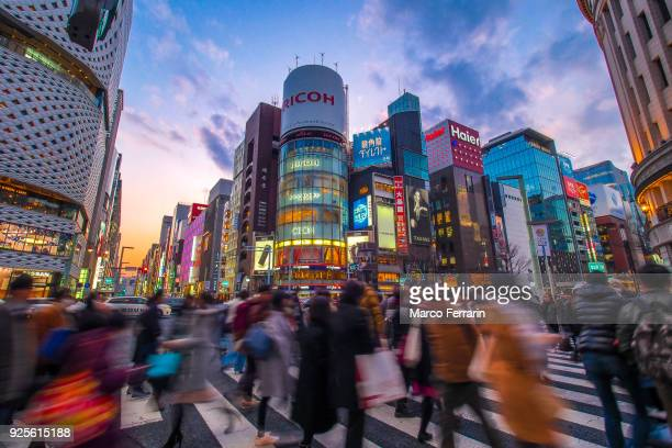 Luxury Shopping Streets with Neon Signs, Ginza Avenues Lined with Shops of Expensive Brands in the Heart of Tokyo, Japan