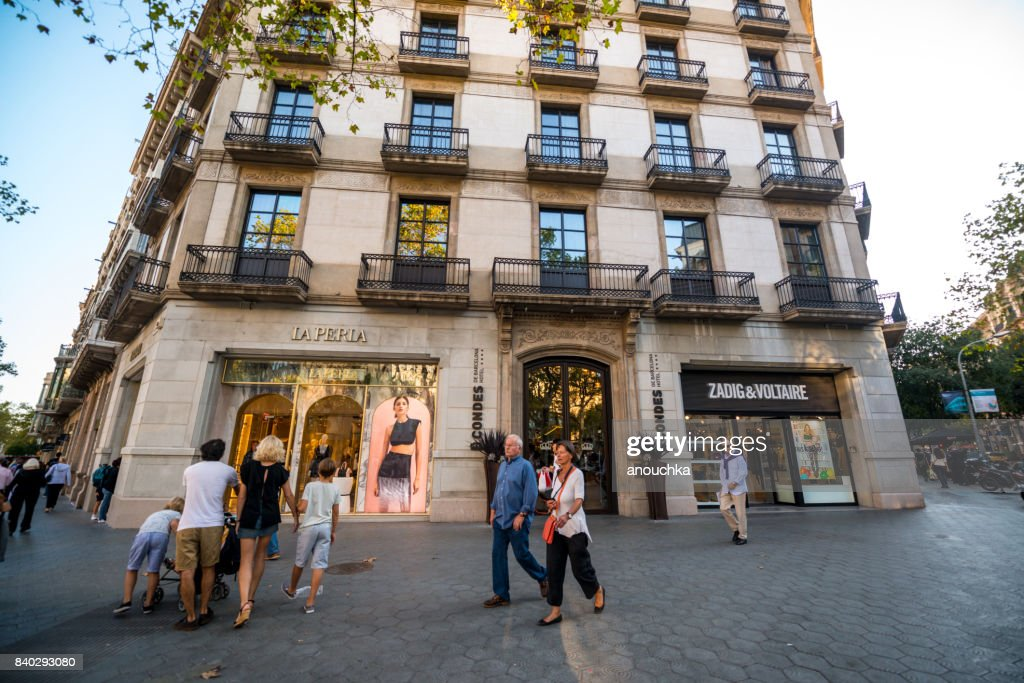 Luxury shops at Passeig de Gracia, shopping street in Barcelona, Spain : Stock Photo