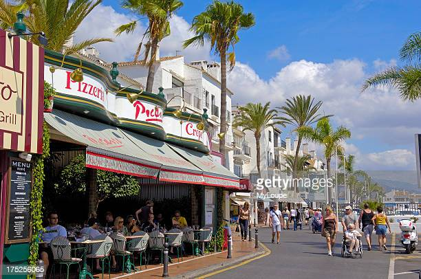 Luxury shops at the exclusive yacht harbour of Puerto Banœs, Marbella, Costa del Sol. Malaga province, Andalusia, Spain