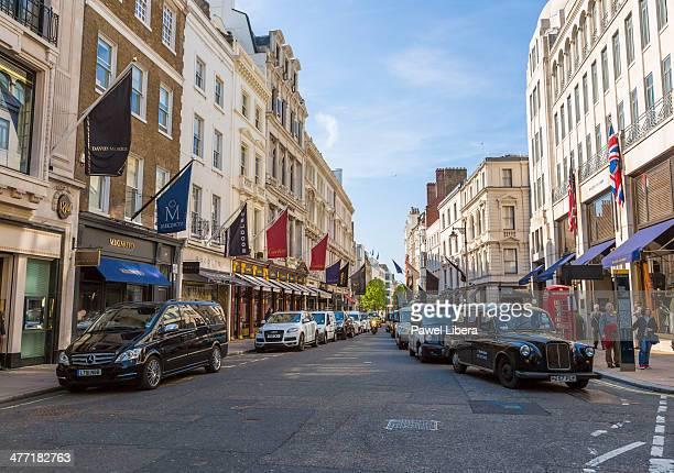 Luxury shops in Old Bond Street in London's Mayfair area