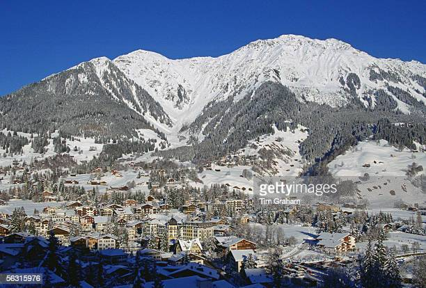 Luxury ski resort Klosters nestling at the foot of the Swiss Alps Switzerland