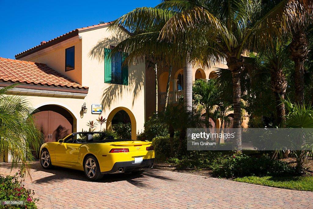 Luxury Home and Sports Car, Captiva, Florida, USA : News Photo