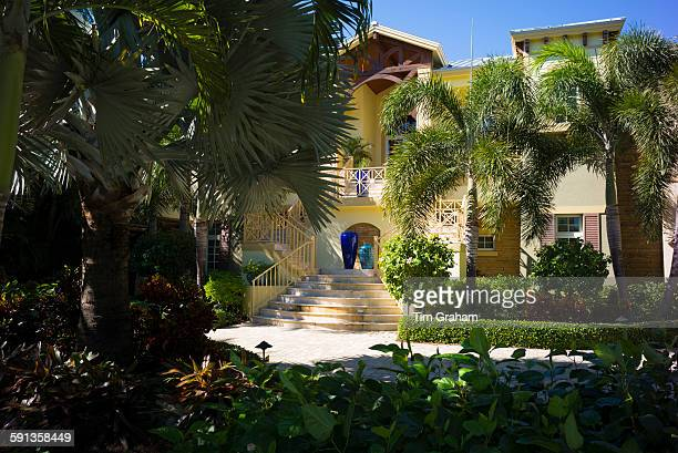 Luxury stylish winter home with sundeck and palm trees on Captiva Island in Florida USA