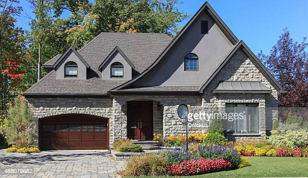 Luxury Suburban House Exterior in Summer