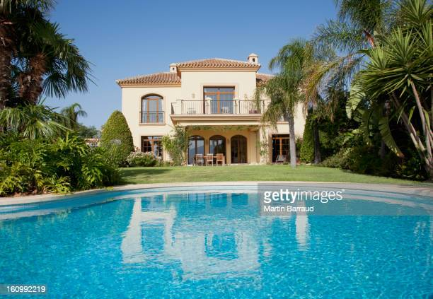 Luxury swimming pool and Spanish villa