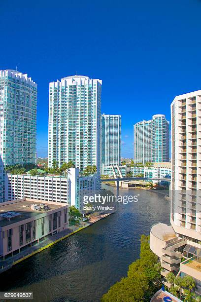 Luxury towers lining banks of Miami River