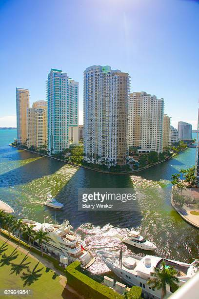 Luxury towers of Brickell Key on Miami River