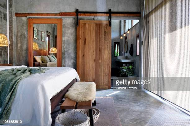 luxury tropical resort bedroom - full length mirror stock photos and pictures