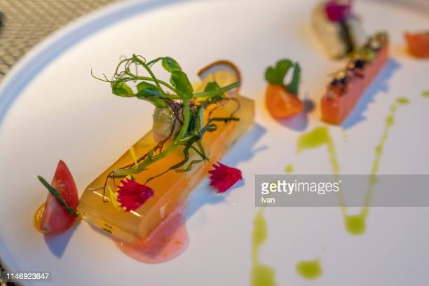 luxury vegetarian food, simulated seafood made by konnyaku - konjac stock pictures, royalty-free photos & images