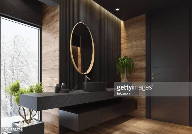 luxury villa minimalist black bathroom - bathroom stock pictures, royalty-free photos & images