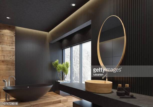 luxury villa minimalist black bathroom - traditionally scandinavian stock pictures, royalty-free photos & images