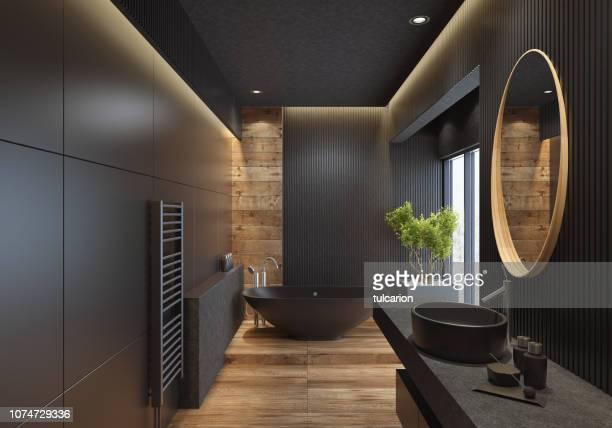 luxury villa minimalist black bathroom - domestic bathroom stock pictures, royalty-free photos & images