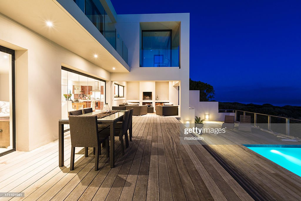 Luxury Villa Pool Deck at Dusk : Stock Photo