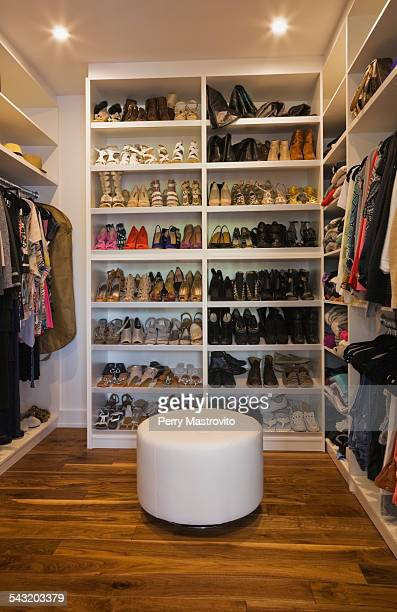 Luxury walk in closet with storage for shoes and clothing