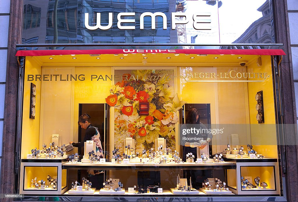 Luxury watches are seen being arranged in a window display at the Wempe store in Berlin, Germany, on Thursday, April 18, 2013. Germany's economy is shrugging off a contraction at the end of last year and starting to grow due to revived exports and rising private consumption, the country's leading economic institutes said. Photographer: Krisztian Bocsi/Bloomberg via Getty Images