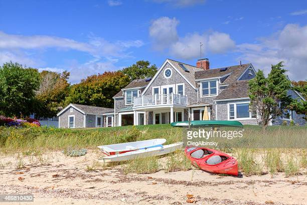 luxury waterfront new england house, hyannis, cape cod, massachusetts, usa. - eastern usa stock photos and pictures